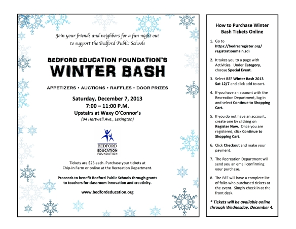 BEF Winter Bash 2013 flyer