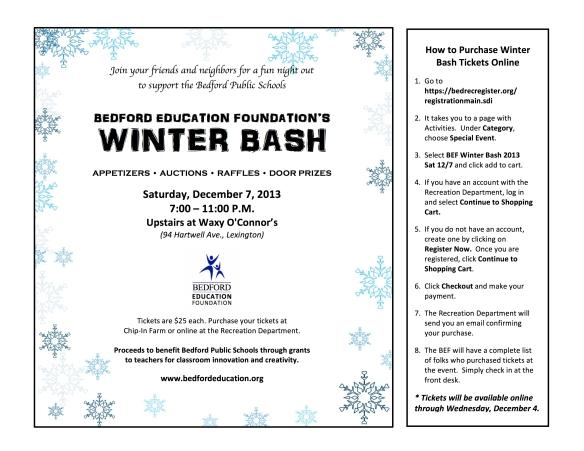 BEF Winter Bash 2013 flyer