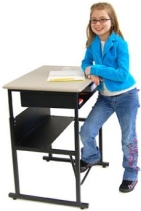 standing desk with younger student